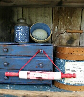 Antique Childs Rolling Pin Red & White Milk Paint Cherry Pie Free Shipping