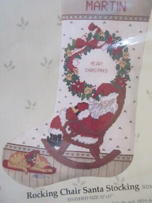 Rocking Chair Santa Christmas Stocking Counted Cross Stitch Kit #50216