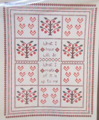 Apple Trees & Hearts Counted Cross Stitch Sampler Kit A Gentle Art 11 x 14