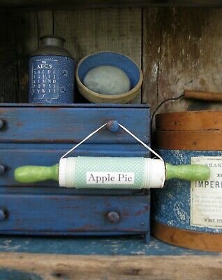 Antique Childs Rolling Pin Green & White Paint Apple Pie Free Shipping