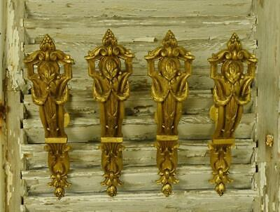 Impressive Set 4 Antique French Gilded Chateau Curtain Pole Holders, 19th C