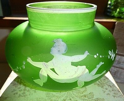 Antique  Mary Gregory Cherub Frosted Wide Vase Rare Design