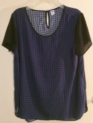 Lady's L Blue & Black Check Blouse Tee Old Navy