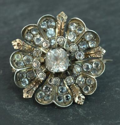 Early Victorian Silver & Gold Paste Set Flower Brooch