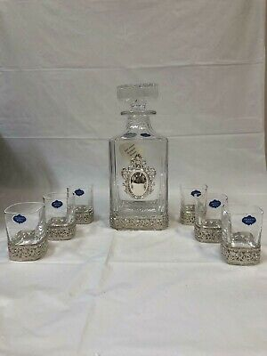 925 Sterling Silver Square Glass Wine Bottle Whiskey/ wine Decanter Set