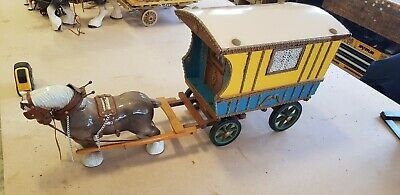 Wooden Model of Horse Drawn Gypsy Caravan Wagon, Large Vintage Romany