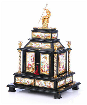Antique Austrian Chest - Jewel Box with Viennese Enamels. Austria, Circa 1850