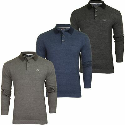 Duck and Cover Mens 'Cartwright' Knitted Polo Shirt - Long Sleeved
