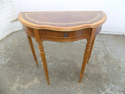 antique,repro,demi lune,hall table,drawer,leather top,fluted legs,console table,