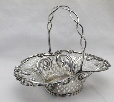 Antique Sterling Solid Silver Swing Handle Pierced Basket 1896 (1031-9-ASY)