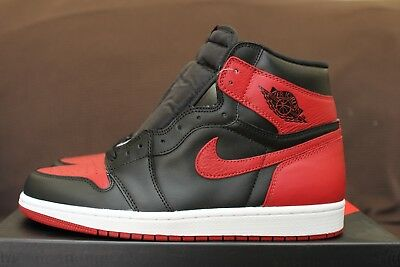 brand new ef344 e6445 NIKE AIR JORDAN 1 I Banned Retro Size 10 Bred 2016 black red ds new sz 2001  2013