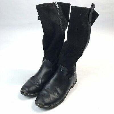 Zara* Kids Girls Black Leather Suede Boots Side Zipper Sz 34