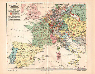 Antique map. HISTORIC MAP. WESTERN EUROPE IN 1713 - 1720 YEAR.  c 1905