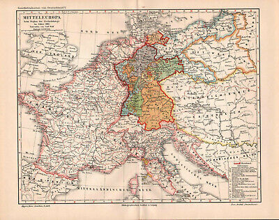 Antique map. HISTORIC MAP. GERMANY & WESTERN EUROPE IN 1813 YEAR.  c 1905