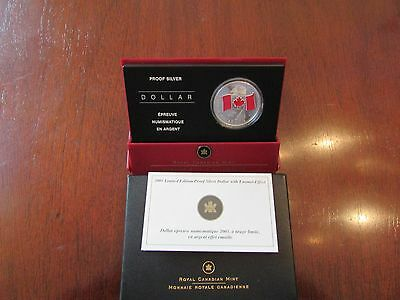 2005 Canada Frosted Proof Red Enamel National Flag Silver Dollar - # 352/5,000