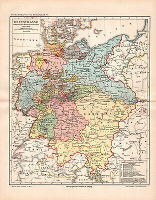 Antique map. HISTORIC MAP. GERMANY IN 1815-1866 YEAR.  c 1905