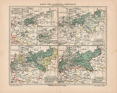Antique map. HISTORIC MAP. HISTORY OF PRUSSIA. 1905
