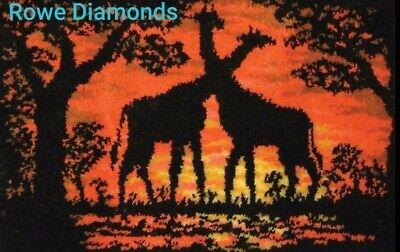 DIY Giraffes African plane Make your own LARGE Rug Latch Hook Kit Sunset Colours