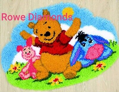 DIY rug Latch Hook Kit Disney's Winnie the Pooh bear, Piglet & Eeyore donkey new