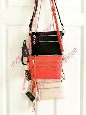 NWT Bebe Solid Zip Crossbody Bag Purse Clutch Black Coral Red Blush Pink Gold