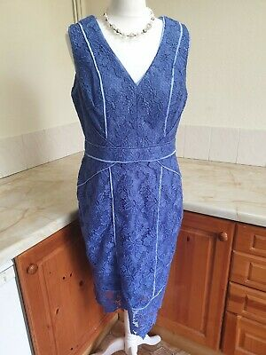 Monsoon Blue Lace Fitted Sleeveless Occasion Wedding Guest Dress Size 16