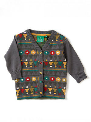 Little Green Radicals Organic cardigan - Dove Green Patterned 3 - 6 months