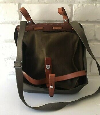 MILITARY GREEN SWISS Army Canvas Leather Salt Pepper Bread Pannier