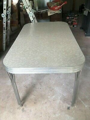 Vintage Formica Chrome Table 1950s Gray 65 00 Picclick