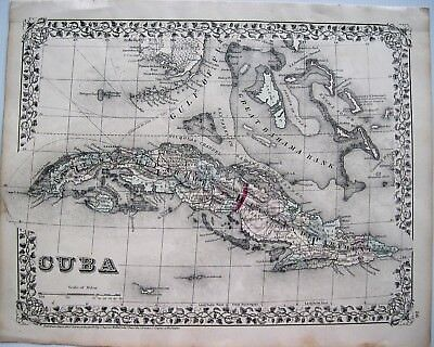 "Cuba Antique Original Engraved Map: Mitchell: New York, 1872: ""CUBA"""