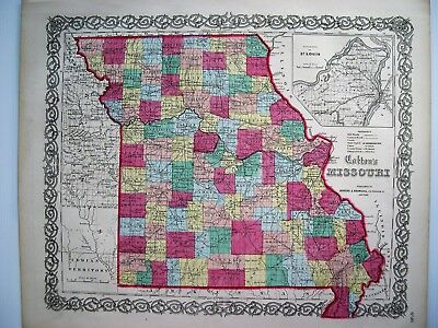 Colton Map Of Missouri: Original Hand Colored Engraved Map; 1859: 16X14