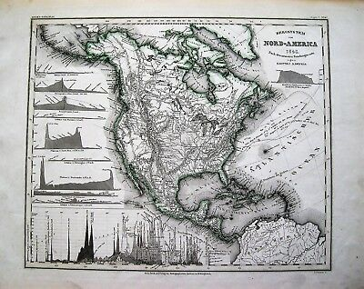 Meyer Nord-America Bergsystem Topographical Map 1848