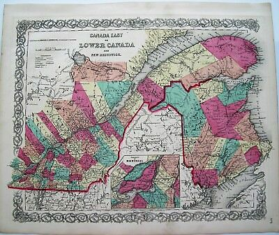 Canada: Colton Antique Map: Lower Canada: Montreal Inset: Hand Colored Map: 1855
