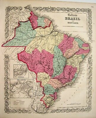 Antique Engraved Colton Map of Brazil and Guayana: Original Hand Coloring: 1855