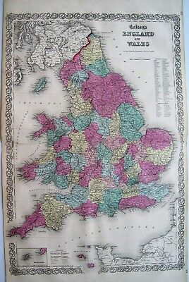 Colton 1855 Map Of England and Wales: Original Engraved Map; Double Page: 26X17