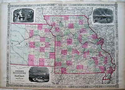Antique Map of Missouri and Kansas: Johnson, 1864: Hand Colored Map: 23X17