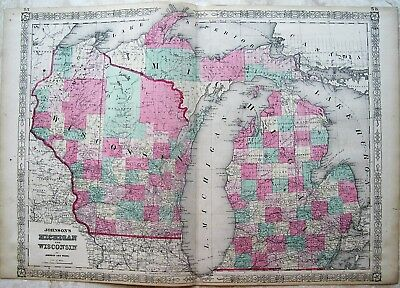 Johnson Map of Michigan and Wisconsin: 1864: Original Hand Colored Map: 23X17