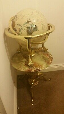 Semi Precious Stoned Globe of the World Mounted on a Brass  real marble table