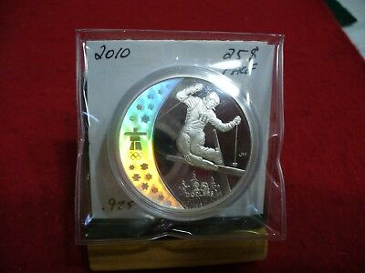 2010  Vancouver  Olympics   Silver   25$ Coin  Canada   Proof Freestyle   Skiing