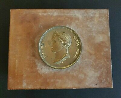 RARE Antique Neapolio Imperator Medal 1804AD Wood Trinket Coin Box Heavy France