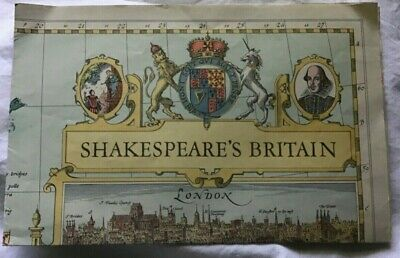Vintage map Shakespeare's Britain National Geographic 1964