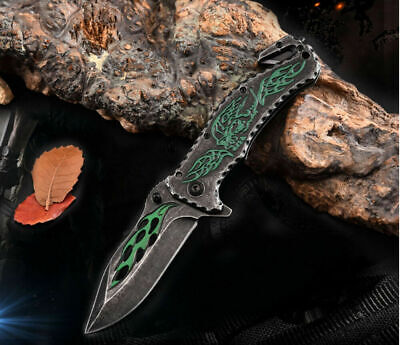 Spring Assisted Tactical Stiletto Folding Pocket Knife Blade Open Stainless