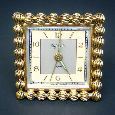 Vintage Stylebuilt Brass Wind Up Alarm Clock Made in Germany Mid Century Classic