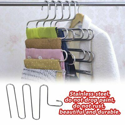 layer Pants Hangers Trousers S Type 5 Layer Holder Scarf Tie Towel Rack Multi CG