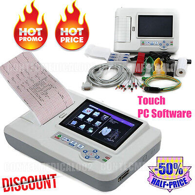 Digital 6 channel ECG EKG machine Electrocardiograp,Touch 12 Leads PC software