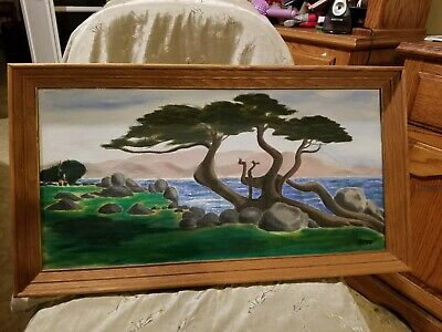 Abstract Painting of Monterey Cypress Tree, Rocks, & Ocean Signed Pepa