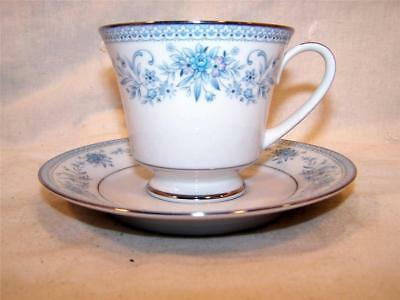 Contemporary Fine China NORITAKE BLUE HILL #2482 Footed Cup and Saucer Set