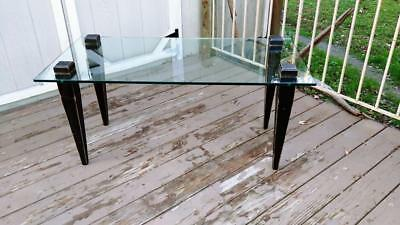 VTG Glass Top High Profile Coffee Table w/ Cottage Chic Distressed Black Legs