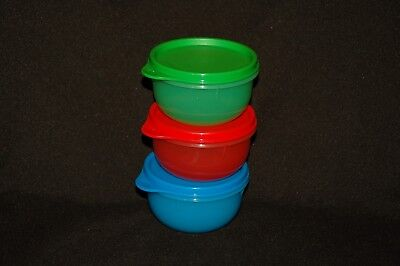 Tupperware 3pc IDEAL LIL BOWLS w/matching seals red blue green sheer 8 oz kids