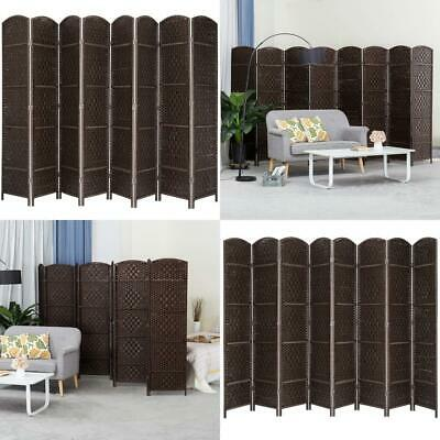 MyGift 8-Panel Handwoven Bamboo Room Divider with Dual-Action Hinges Brown New