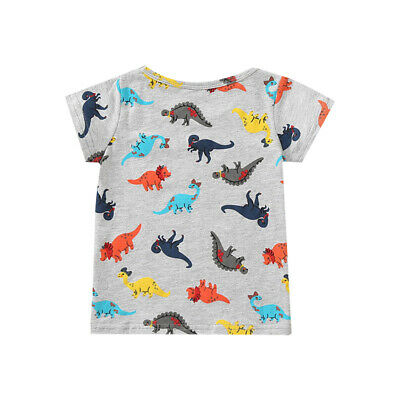 Toddler Baby Boys Short Sleeve Dinosaur Pattern T-Shirts Tops Tees Cotton Blouse
